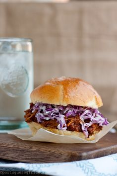 Spicy pulled chicken slider.  Has a recipe for homemade chedder buns, but you could use Hawaiian rolls instead.