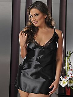 """Plus-Size women need beautiful lingerie too! This """"The Flawless Chemise"""" by Seven 'Til Midnight is gorgeous!! http://www.plussizelingerieboutique.com/chemises/flawless-chemise-STM-9284X.html"""
