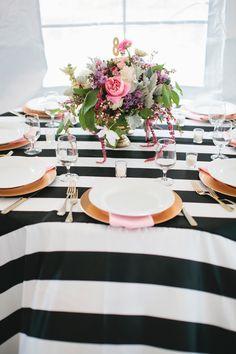 striped tablecloth, photo by Kristen Soileau Portraits http://ruffledblog.com/pagosa-springs-wedding #weddingideas #tablescape #reception