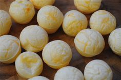 Brazilian Cheese Bread (Pao de Quiejo)  These are like little fluffy cheese pillows and they are sooo good!