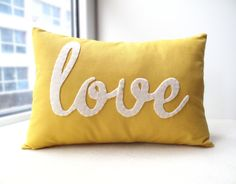 Yellow Love PIllow. via Etsy.