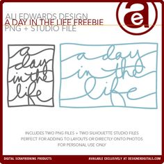 """Free Ali Edwards """"a day In the life"""" PNG Journal cards & Cut Files #ProjectLife #Scrapbooking #silhouette #CutFile"""