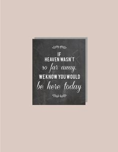 Instant Download - Chalkboard If Heaven Wasn't So Far Away I Know You'd Be Here Today - Modern Design DIY, Reception Sign Classic Wedding on Etsy, $7.00