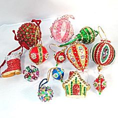 Lot of 20 Pin Beaded Sequin Jeweled 1970s Christmas Ornaments at www.TIAS.com