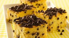 Mini chocolate chips are a sweet contrast to the tangy sour cream in a luscious yellow cake.