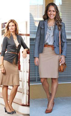 khaki skirt, dark grey blazer, silver grey blouse, cognac brown belt and shoes