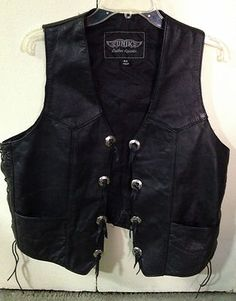 $38.99 Men's Size 42 Black Leather Unik Motorcycle Vest! on ebay  http://stores.ebay.com/NYC-Fitness-Family-and-Finds
