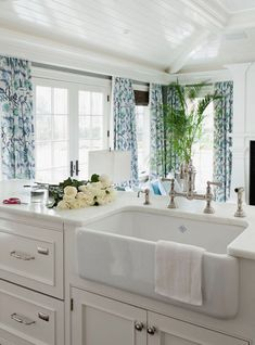 Color of counters. interior, blue, family rooms, kitchen island, kitchen sinks, farmhouse sinks, farm sinks, curtain, white kitchens