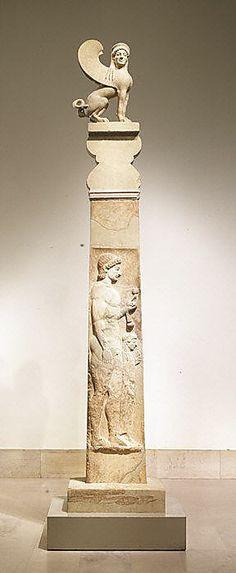 Greek/Attic Marble stele (grave marker), Period: Archaic, Date: ca. 530 B.C.