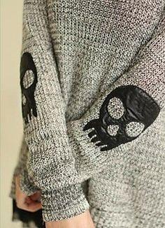 Women's Shirt Collar Two Piece Skull Pullover Sweater
