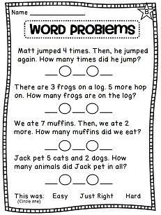 ... addition number sentences for word problems - differentiated practice