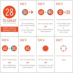28 to Great Challenge: Sample Weekly Workout Plan | barre3 blog