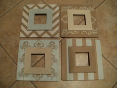 DIY wooden frames, painted to match any decor.  Supplies are all from Michaels & cost less than $30 in total