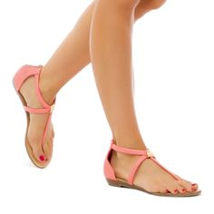 flat sandals in coral