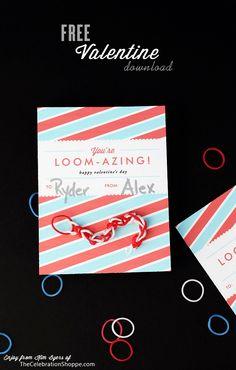 You're LOOM-AZING! {FREE Rainbow Loom Valentine Download} | TheCelebrationShoppe.com  #classvalentines #rainbowloom