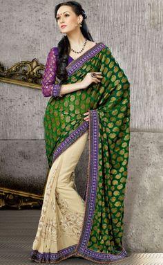 Cream and Deep Green Sari With Blouse