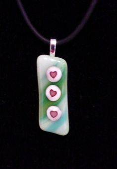 Valentine Hearts Necklace Fused Glass by FingerLakesFinds on Etsy, $28.00