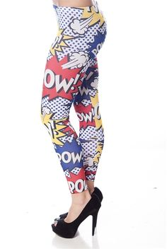 Cartoon Pow! Leggings - Blue - Incorporate a little pop art into your outfits with these leggings. Features a thin waistband for comfort and is full length. $14.99