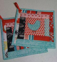 potholders in aqua and red sew, red, colors, pot holder, quilts, potholders, quilt coaster, aqua idea, pothold 001