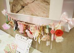 Baby Shower Headband-Making Station - display them on a clothesline after you're done! So sweet. #babyshower
