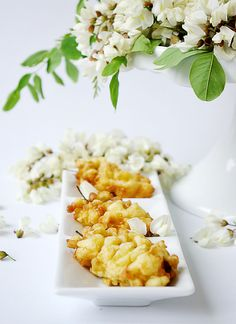 Acacia and elder flowers fritters.