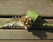 Gold & Green Wedding Boutonniere - Natural Lapel Pin with Scotch Pine cone and Redwood
