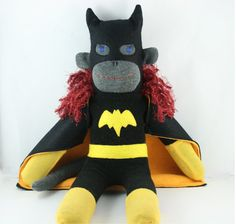 Batgirl the Sock Monkey  Made to Order by YouMakeMeMe on Etsy, $42.00