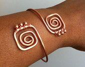 SQUARE  -  Copper Hammered Bangle  cute idea