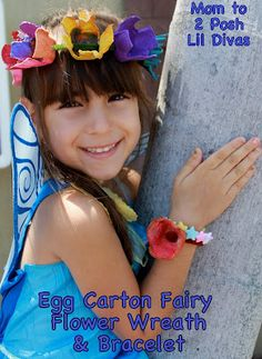 egg carton flower wreath - fun to make and so cute for dress up and play
