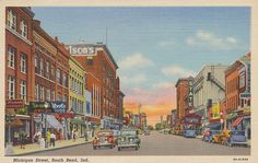 Michigan Street - South Bend, Indiana. Mailed from South Bend, Indiana to Brimfield, Illinois on September 2, 1943.