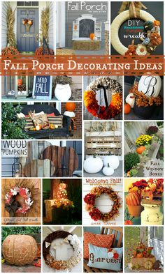 The best collection of Fall porch decorating ideas! Love them all!