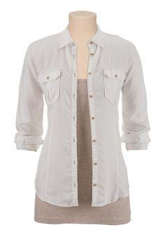 drape button, denim shirts