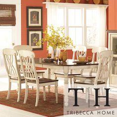 TRIBECCA HOME Mackenzie 7-piece Country Antique White Dining Set