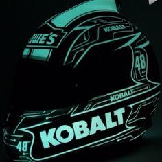 #GlowInTheDark #kobalt #lowes #jimmiejohnson @Jimmie Heusler Johnson @lowesracing #helmet #nascar #Padgram