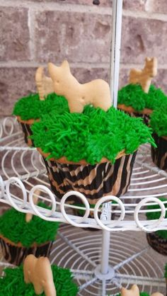 Safari theme birthday party. Zoo animal cupcakes...Stephie already brought this idea up for me. :)