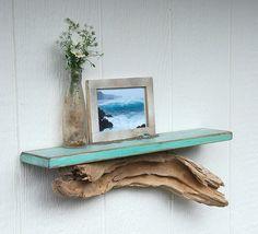 decor, driftwood shelf, driftwood shelv, shelves, teal, hous, beach, diy, style shelf