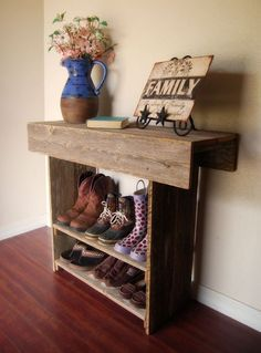 Uses reclaimed wood – finally a way to make those piles of shoes in the living room not look like clutter and gives me a place to decorate more. Also makes school days less of a hassle. That is if the shoes where there to start with :)   best stuff