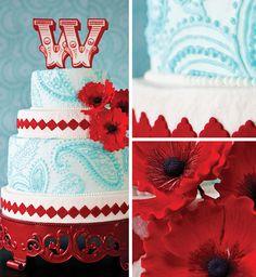 red and aqua paisley cake.