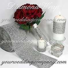 Diamond wrap is a sparkling, bendable ribbon perfect for wrapping around wedding bouquet handles, favor boxes, candles and vases. Makes gorgeous centerpiece accents.