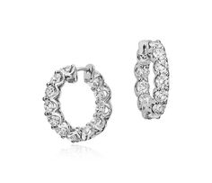 Diamond Eternity Hoop Earrings in 18k White Gold | Click for your chance to win a $1000 gift card from #BlueNile!