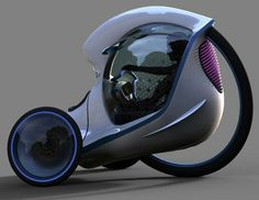 Concept reverse trike where driver sits inside the axis of the third wheel.