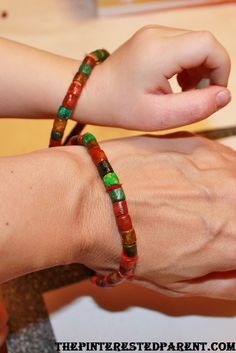 Pasta bracelets craft for mommy and toddler.