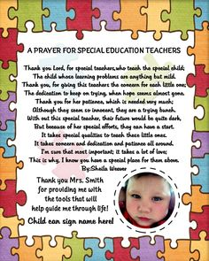 Personalized Autism Special Needs Teacher / Therapist Thank You / Appreciation Photo Poem Printable 8x10 All Proceeds Go To Autism Awareness. $5.25, via Etsy.