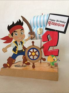 DIY - Jake and the Neverland Pirates Birthday Party Centerpiece Decoration (print out pictures, glue to cardboard)