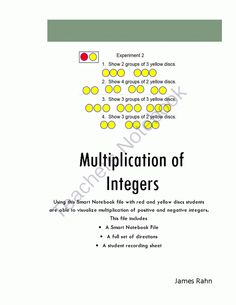 Multiplication of Integers from jamesrahn on TeachersNotebook.com -  (47 pages)  - Using this Smart Notebook file with red and yellow discs students are able to visualize multiplication of positive and negative integers.