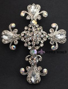 Rhinestone Brooch Pin  Rhinestone Cross Brooch  by SupplyWorld, $8.95