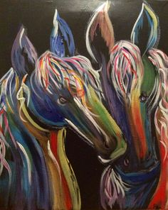 Horses on black - 16x20 - acrylic -$45