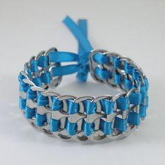 pop tab bracelet  blue stacked weave  7  inch