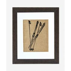 "Vintage Skis and Poles Burlap Print - 11"" tall x 14"" long -"