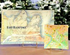 maps decopaged to glass trays